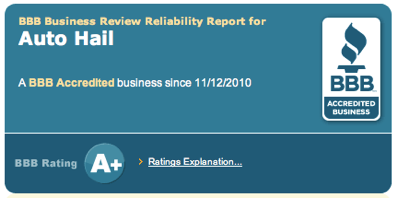Autohail, LLC is A+ Accredited by the BBB